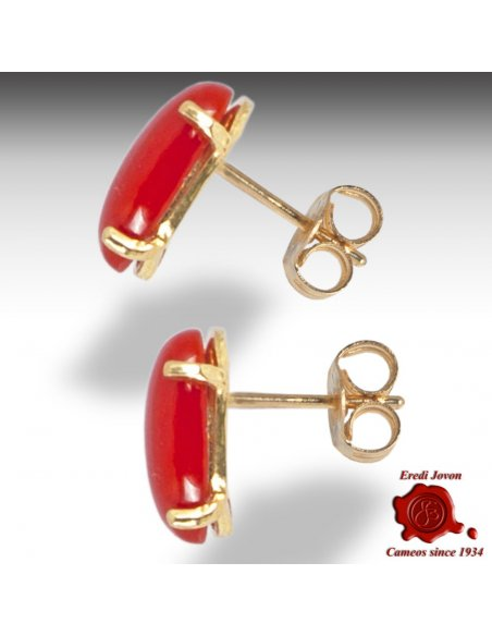 Gold Red Coral Earrings Studs