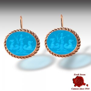 Intaglio Cameos Blue Earrings Glass