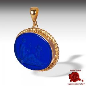 Intaglio Cameo Pendant Jewelry Blue