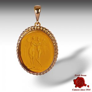 Glass Intaglio Cameo Amber Pendant