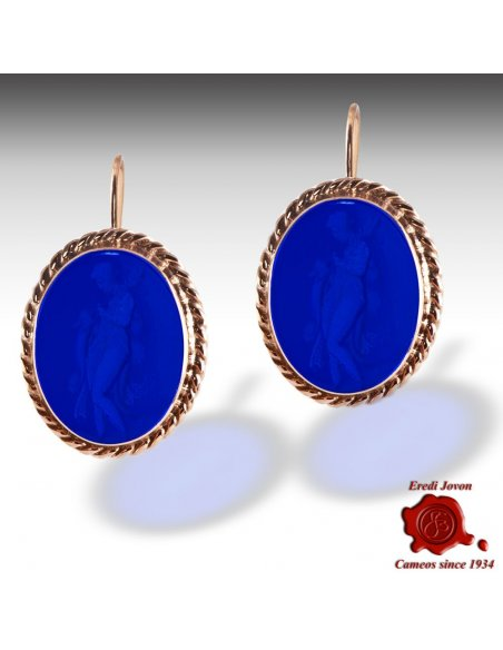 Vintage Glass Intaglio Cameo Earrings for Sale