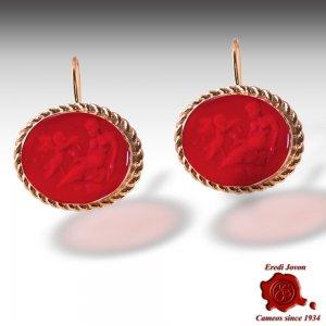Cammei Pasta Vitrea Orecchini Rosso Rubino