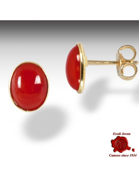 Italian Coral Gold Earrings Studs