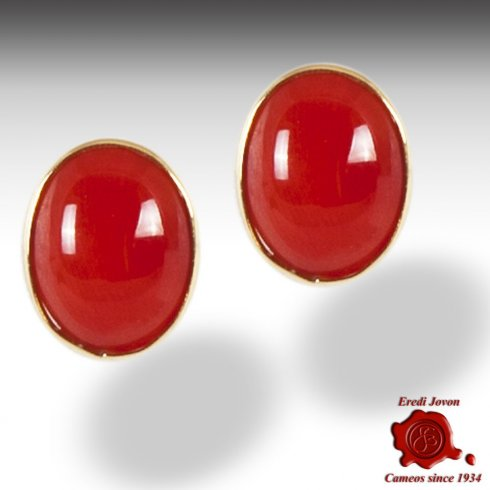 Red Coral Gold Earrings Studs