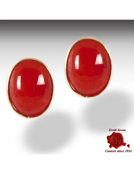 Orecchino Corallo Rosso Oro Classico
