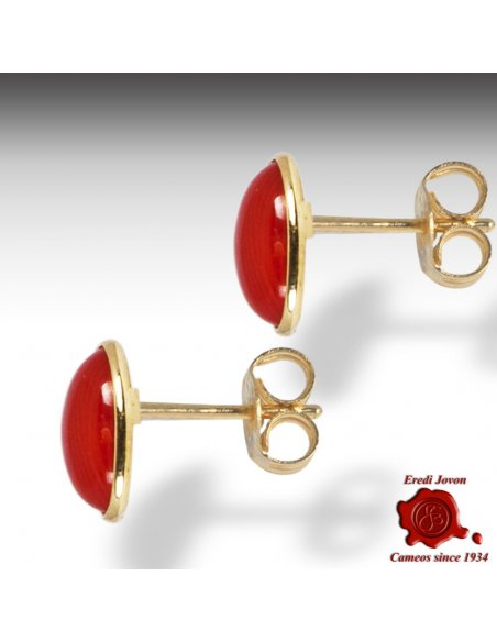 Mediterranean Coral Gold Earrings