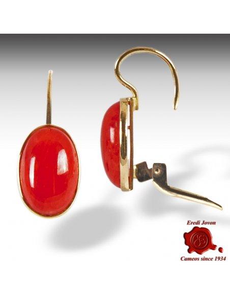 Orecchino Corallo Rosso Oro Pendente