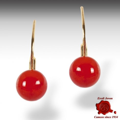 Red Coral Beads Dangle Earrings Gold