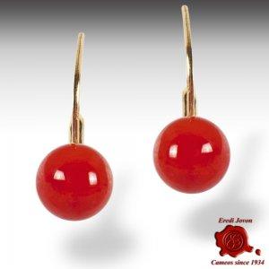 Orecchino Corallo Rosso a Bottone Pendente