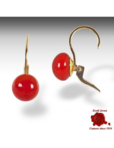 Red Coral Pastil Dangle Earrings Gold