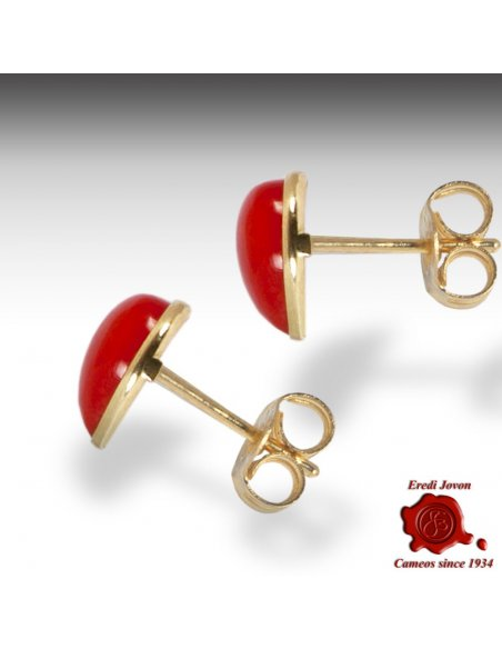 Red Coral Studs Earrings Heart Shaped in Gold
