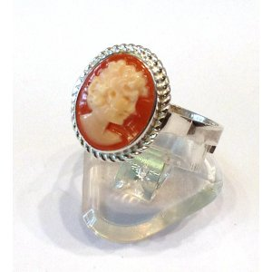 Lady cameo ring silver rope