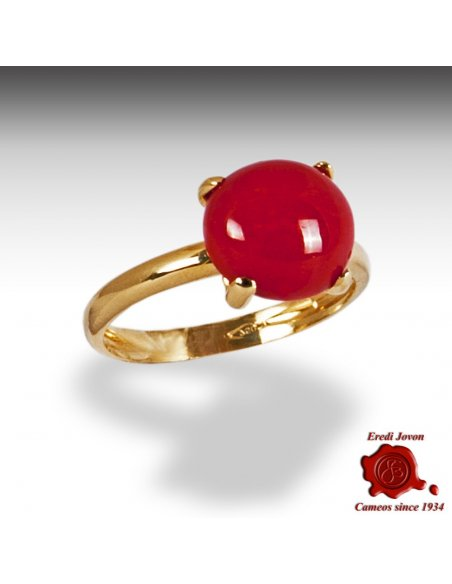 Gold Red Coral Ring Griffe