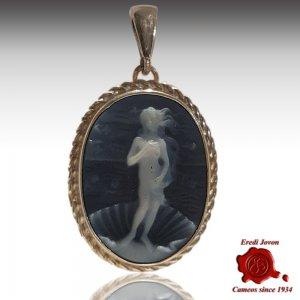 Birth of Venus blue cameo silver pendant
