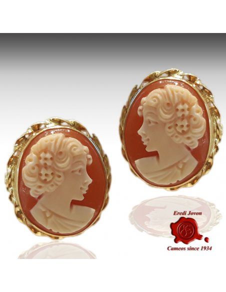 Studs Gold Cameo Earrings