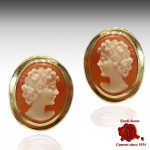 Gold Cameo Earrings studs plain Primavera