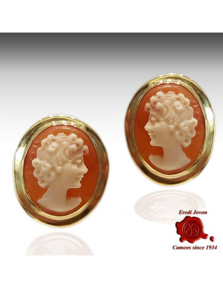 Shell Cameo Gold Earrings Studs