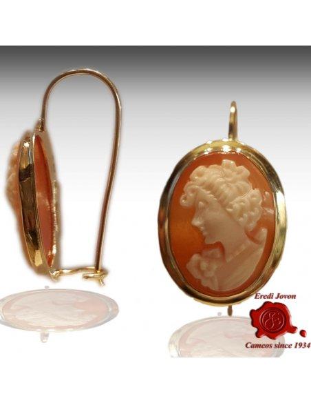 Shell Cameo Gold Earrings