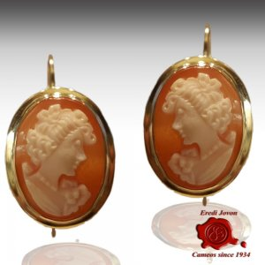 Shell Cameo Gold Earrings