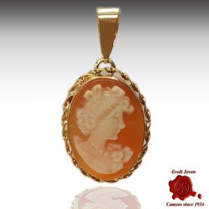 Gold Shell Cameo Pendant Flora