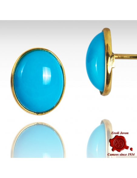 Cabochon Turquoise Stone Earings Yellow Gold Frame