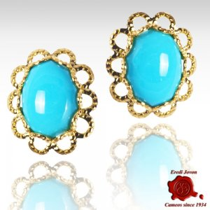 Turquoise Gold Set Daisy Shape Earings