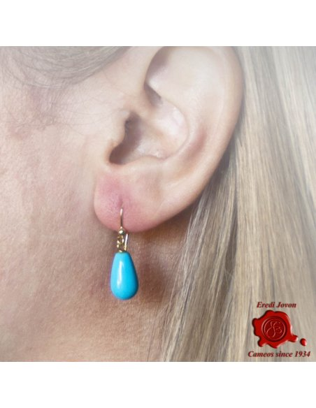 Dangle Natural Turquoise Earrings 18 kt. Gold Set