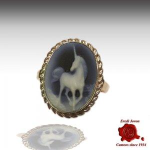 Unicorn blue agate cameo silver ring