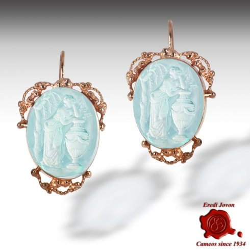 Venetian Glass Intaglio Cameo Dangle Earrings