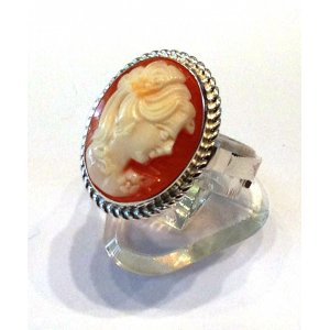 Old cameo silver ring