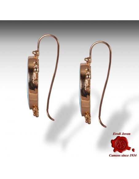 Venetian Glass Intaglio Cameo Dangle Earrings