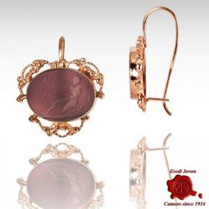 Intaglio Purple Glass Dangle Earrings filigree set