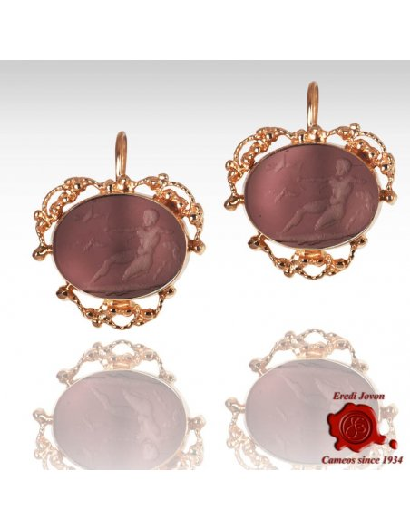 Intaglio Purple Glass Dangle Earrings filigree set