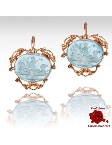 Glass Intaglio Cameo Earrings Golden Filigree Set