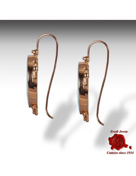 Glass Intaglio Cameo Earrings Golden Filigree Set