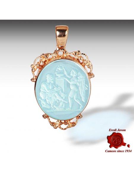 Murano Glass Intaglios Cameo Trinket Gold Set