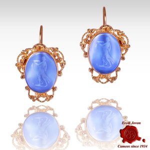 Dangle Intaglio Cameo Venetian Glass Earrings Golden Set