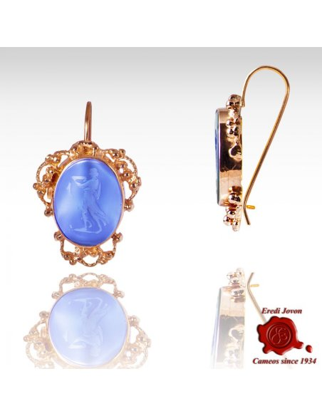 Dangle Intaglio Cameo Venetian Glass Earrings Golden Set