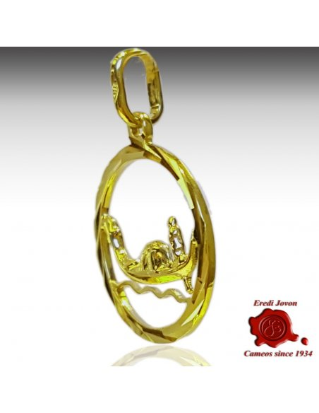 Round Medallion Gondola In The Waves Yellow Gold