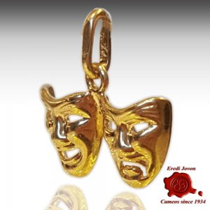 Theater Mask Tragedy Comedy Pendant Yellow Gold