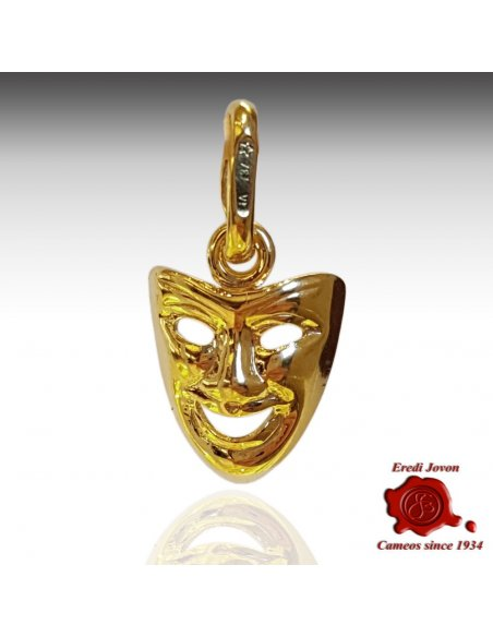 Comedy Mask Charm Plain Yellow Gold