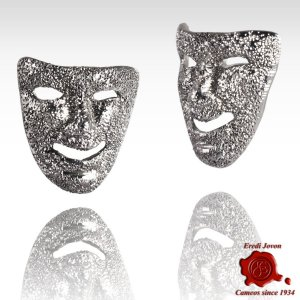 Silver Earrings Mask Carnival Venice Comedy