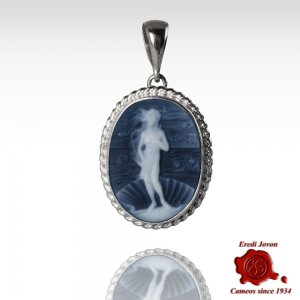 Birth of Venus Botticelli Blue Cameo