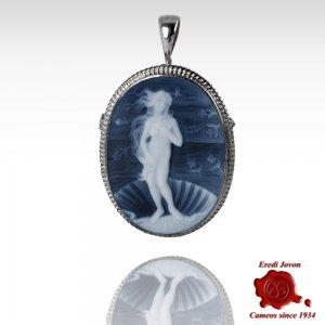 Nascita di Venere spilla e ciondolo cammeo blu argento