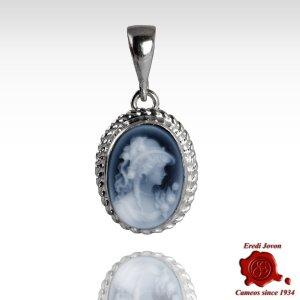 Angelica Blue Cameo Necklace