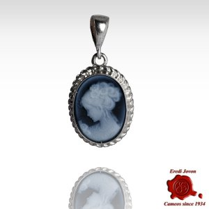 Venice Blue Cameo Necklace