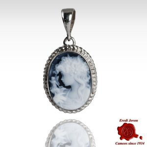 Flora Blue Cameo Necklace