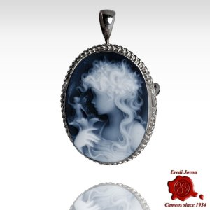Lady with fairy blue cameo brooch silver