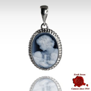 Mother with Two Children Blue Cameo Necklace