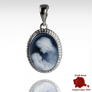 Virgin Mary Blue Cameo Necklace